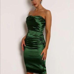 Green Satin Midi Pencil Dress